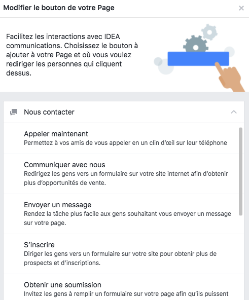 Bouton d'action Facebook - Exemple